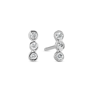 Sophie Ratner - Three Diamond Bar Studs (14k White Gold)