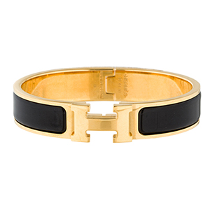 Hermes - Narrow Clic H Bracelet (Noir/Yellow Gold Plated) - PM