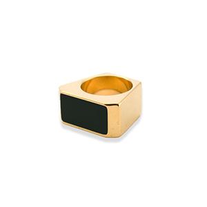 c7ca028b561 Yves Saint Laurent - Color Block Rectangle Ring (Black) - Size 5