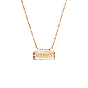 Sophie Ratner - Horizontal Diamond Line Tag Necklace