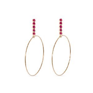 Sophie Ratner - Large Five Ruby Drop Hoops