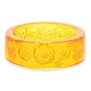 Chanel - Vintage Orange Resin Flower Bangle