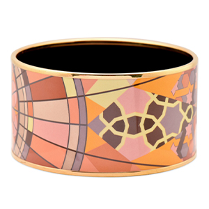 Hermes - Extra Wide Enamel Bangle (Multicolor/Star Motif)