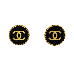 52a4df736df4 Chanel - Vintage Small Black and Gold Clip On Earrings