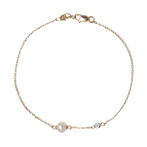 Mateo - Pearl and Diamond Chain Bracelet