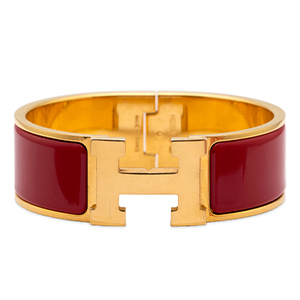 Hermes - Wide Clic Clac H Bracelet (Rouge de Chine/Yellow Gold) - PM
