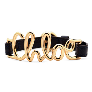 Chloe - Gold And Leather Logo Bracelet