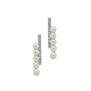 Mateo -  Yellow Gold Diamond and Pearl Bypass Earrings