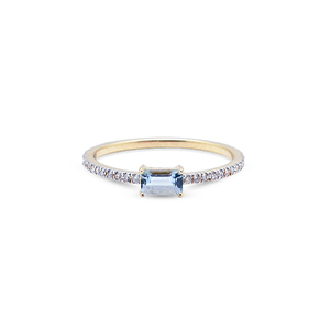 Mateo - Emerald Cut Aquamarine Ring - 7.5