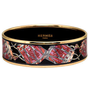 Hermes - Wide Black Enamel Bangle (Les Tambours) - 65
