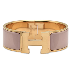 Hermes - Wide Clic Clac H Bracelet (Dark Nude Pink/Yellow Gold Plated) - GM