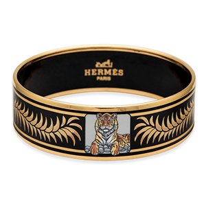 Hermes - Enamel Bangle (Black/Gold/Tiger Print) - PM