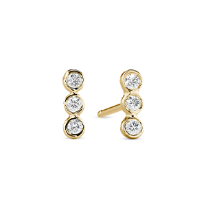 Sophie Ratner - Three Diamond Bar Studs (Yellow Gold)