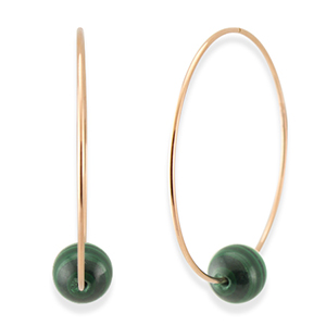 Chains and Pearls - Malachite Hoop Earrings (14k Rose Gold)