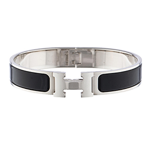 Hermes - Narrow Clic H Bracelet (Noir/Palladium Plated) - PM